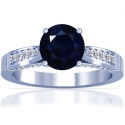 Round Shape Blue Sapphire Prong Set Ring With Round Diamonds (1.23cttw)