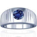 Rare Untreated Round Shape Blue Sapphire Bezel Set Mens Ring (1.79cts)
