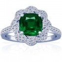 Cushion Emerald Prong Set Halo Ring With Round Diamonds (1.73cttw)