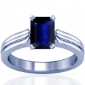 Rare Untreated Emerald Cut Blue Sapphire Solitaire Ring (1.18cts)