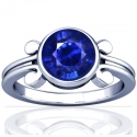 Round Shape Blue Sapphire Solitaire Ring (0.68cts)