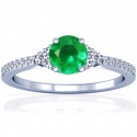 Round Shape Emerald Prong Set Ring With Round Diamonds (1.24cttw)