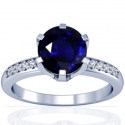 Round Shape Blue Sapphire Prong Set Ring With Round Diamonds (1.93cttw)