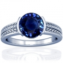 Round Shape Blue Sapphire Solitaire Ring (1.78cts)