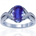 Cushion Blue Sapphire Prong Set Ring With Round Diamonds (1.68cttw)