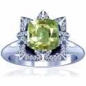 Cushion Alexandrite Prong Set Halo Ring With Round Diamonds (1.03cttw)