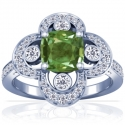Cushion Alexandrite Prong Set Ring With Round Diamonds (1.24cttw)
