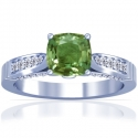 Cushion Alexandrite Prong Set Ring With Round Diamonds (0.96cttw)