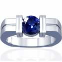 Round Shape Blue Sapphire Bar Set Mens Ring (2.62cts)