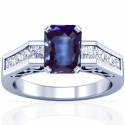 Rare Untreated Emerald Cut Blue Sapphire Prong Set Ring With Princess Cut Diamonds (2.63cttw)