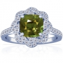 Cushion Alexandrite Prong Set Halo Ring With Round Diamonds (1.11cttw)
