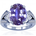Rare Untreated Oval Cut Purple Sapphire Prong Set Ring With Princess Cut And Round Diamonds (2.77cttw)