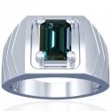 Emerald Cut Alexandrite Prong Set Mens Ring (0.88cts)