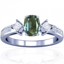 Cushion Alexandrite Prong Set Three Stone Ring With Princess Cut Diamonds (0.80cttw)