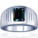 Emerald Cut Alexandrite Bezel Set Mens Ring (0.93cts)