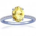 Rare Untreated Oval Cut Yellow Sapphire Prong Set Ring With Round Diamonds (2.22cttw)