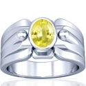 Astrological Men's Rare Untreated Yellow Sapphire Bezel Set Ring (0.92cts)