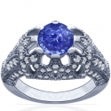 Rare Untreated Round Shape Blue Sapphire Prong Set Ring With Round Diamonds (1.36cttw)