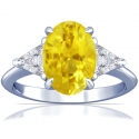 Oval Cut Yellow Sapphire Prong Set Three Stone Ring With Trillion Cut Diamonds (1.97cttw)