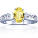 Rare Untreated Oval Cut Yellow Sapphire Prong Set Ring With Round Diamonds (1.93cttw)