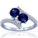Rare Untreated Round Shape Blue Sapphire Prong Set Two Stone Ring With Round Diamonds Approximately (2.30cttw)