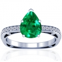 Pear Shape Emerald Prong Set Ring With Round Diamonds (1.93cttw)