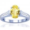 Rare Untreated Oval Cut Yellow Sapphire Prong Set Ring With Princess Cut Diamonds (1.94cttw)