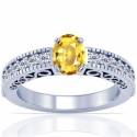Rare Untreated Oval Cut Yellow Sapphire Prong Set Ring With Round Diamonds (1.66cttw)