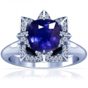 Cushion Blue Sapphire Prong Set Halo Ring With Round Diamonds (1.51cttw)