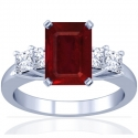 Composite Emerald Cut Ruby Prong Set Ring With Princess Cut Diamonds (2.70cttw)