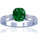 Cushion Emerald Prong Set Ring With Round Diamonds (1.76cttw)