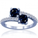 Round Shape Blue Sapphire Prong Set Two Stone Ring With Round Diamonds Approximately (3.36cttw)