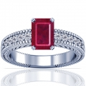 Emerald Cut Ruby Prong Set Ring With Round Diamonds (1.17cttw)