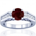 Round Shape Ruby Prong Set Ring With Princess Cut Diamonds (2.10cttw)