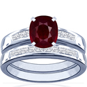 Composite Cushion Ruby Matching Set With Princess Cut Diamonds (9.84cttw)