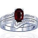 Rare Untreated Cushion Ruby Matching Set With Round Diamonds (1.29cttw)