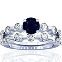 Round Shape Blue Sapphire Matching Set With Round Diamonds (1.66cttw)