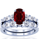 Rare Untreated Cushion Ruby Matching Set With Round Diamonds (1.94cttw)