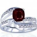 Rare Untreated Cushion Ruby Matching Set With Round Diamonds (1.72cttw)