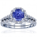 Rare Untreated Round Shape Blue Sapphire Matching Set With Round Diamonds (1.42cttw)