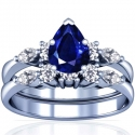 Pear Shape Blue Sapphire Matching Set With Marquise Shape And Round Diamonds (1.70cttw)