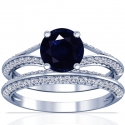 Round Shape Blue Sapphire Matching Set With Round Diamonds (1.89cttw)