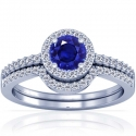 Round Shape Blue Sapphire Matching Set With Round Diamonds (1.03cttw)