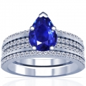 Pear Shape Blue Sapphire Matching Set With Round Diamonds (1.86cttw)