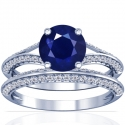 Round Shape Blue Sapphire Matching Set With Round Diamonds (2.78cttw)