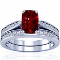 Rare Untreated Cushion Ruby Matching Set With Round Diamonds (1.27cttw)