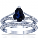 Rare Untreated Pear Shape Blue Sapphire Matching Set With Round Diamonds (1.85cttw)
